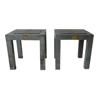 1970's Brutalist Cityscape Gunmetal Parsons Tables - a Pair For Sale