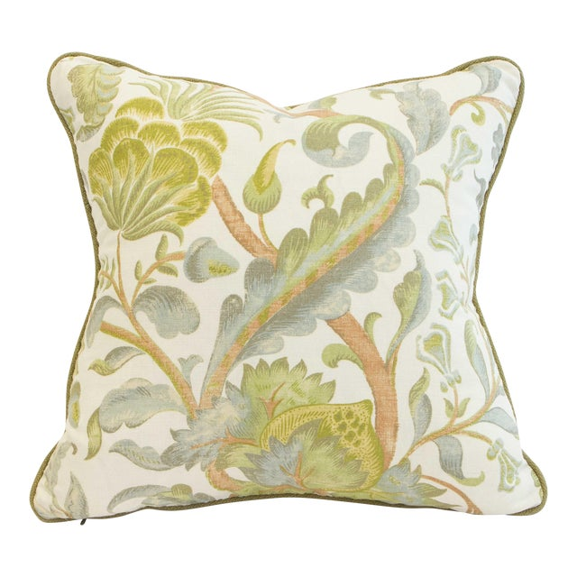 Contemporary Floral Duck Egg Pillows - a Pair For Sale - Image 3 of 6