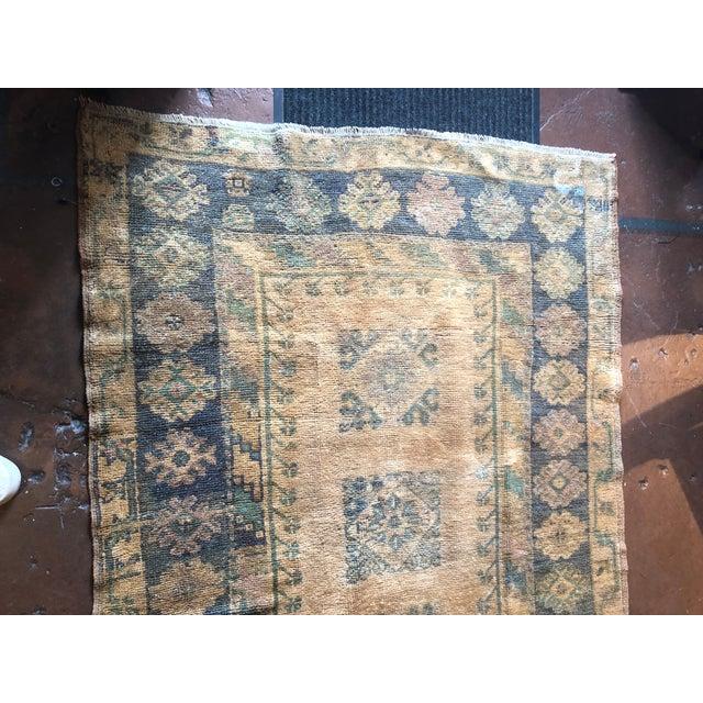 Textile Antique Turkish Wool Oushak Prayer Rug For Sale - Image 7 of 11