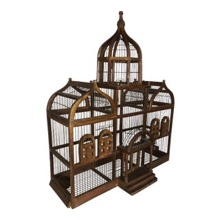 Antique Chinoiserie Style Wooden Birdcage For Sale
