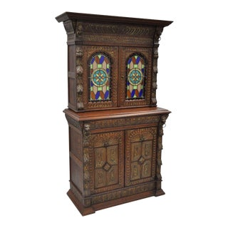 Renaissance Revival Leaded Stained Glass Oak Sideboard Cupboard Cabinet Bookcase