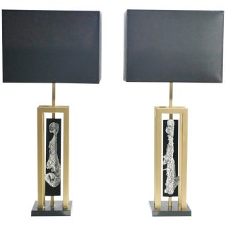 Pair of Large Philippe Cheverny Brass and Nickel Table Lamps, 1970s For Sale