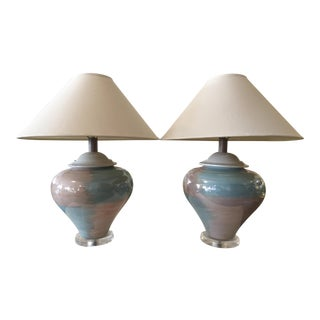 Ceramic and Lucite Table Lamps With Shades For Sale