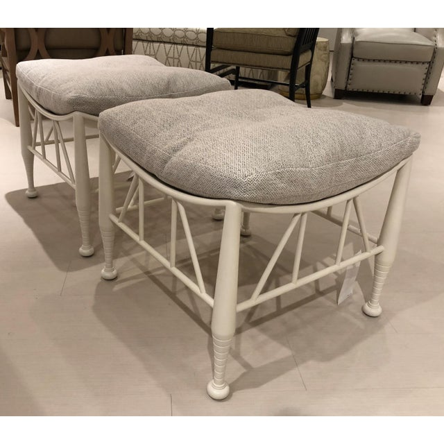 Showroom New. These Stylish Versatile Stools can be Used in Any Style Setting. Eggshell White Finish with Top Pillows...