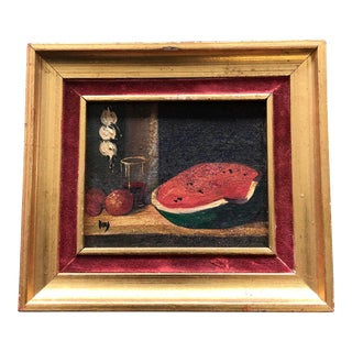 Vintage Miniature Classic Still Life Painting With Watermelon For Sale