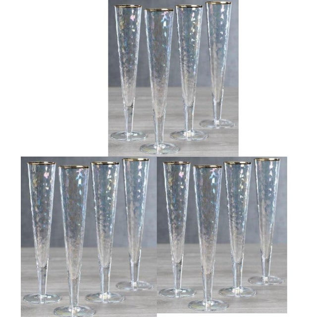 Kenneth Ludwig Chicago Kenneth Ludwig Chicago Aperitivo Slim Champagne Flute With Gold Rim - Set of 12 For Sale - Image 4 of 4