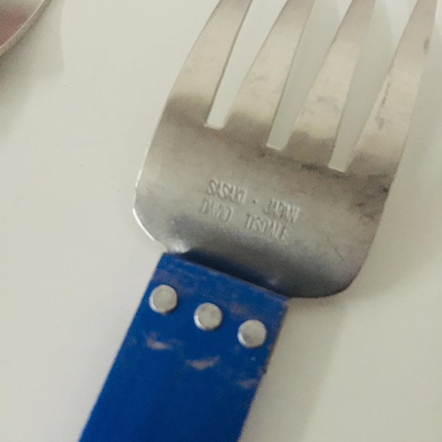 """1980s 5 Piece Metal """"electra"""" Flatware by David Tisdale for Sasaki For Sale - Image 9 of 11"""