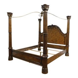 Pulaski Renaissance Style King Size Burl Wood Poster Canopy Bed For Sale