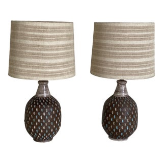 Mid Century Italian Ceramic Table Lamps With Woven Fabric Shades- a Pair For Sale