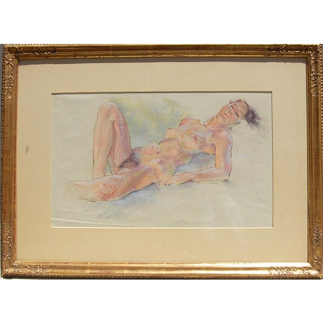 Sleeping Nude Pastel Drawing Around Mid-Century Signed Weecks For Sale - Image 4 of 4