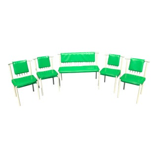 Mid-Century B. Brody Bright Green and White Dining Room Set- 5 Pieces For Sale