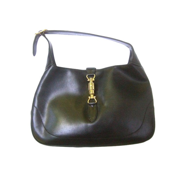 "Gucci Iconic Ebony Leather Jackie ""O"" Versatile Handbag / Shoulder Bag C 1970s For Sale"