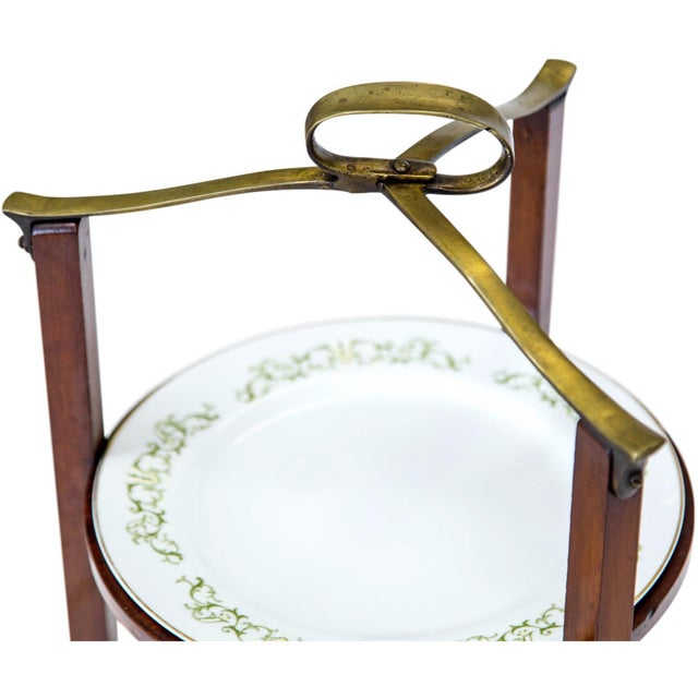 3-Tier Serving Stand W Brass Handle For Sale - Image 4 of 11