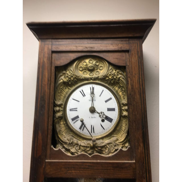 French Antique French Hand Painted Brass Repoussé Grandfather Clock For Sale - Image 3 of 13