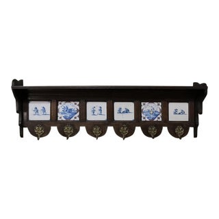 19th Century Dutch Carved Wood Hat Rack For Sale