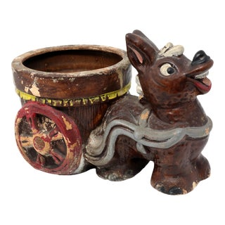 Vintage Rustic Ceramic Donkey and Cart Planter For Sale