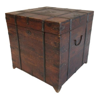 18th Century English Hand-Forged Wood and Iron Footed Square Trunk For Sale