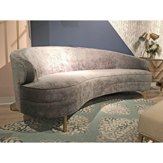 Italian Modern Style Grey Velvet Sofa For Sale - Image 4 of 4