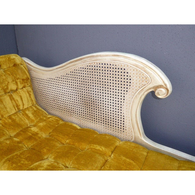 Textile French Provincial White Cane & Gold Velvet Bench Settee For Sale - Image 7 of 11