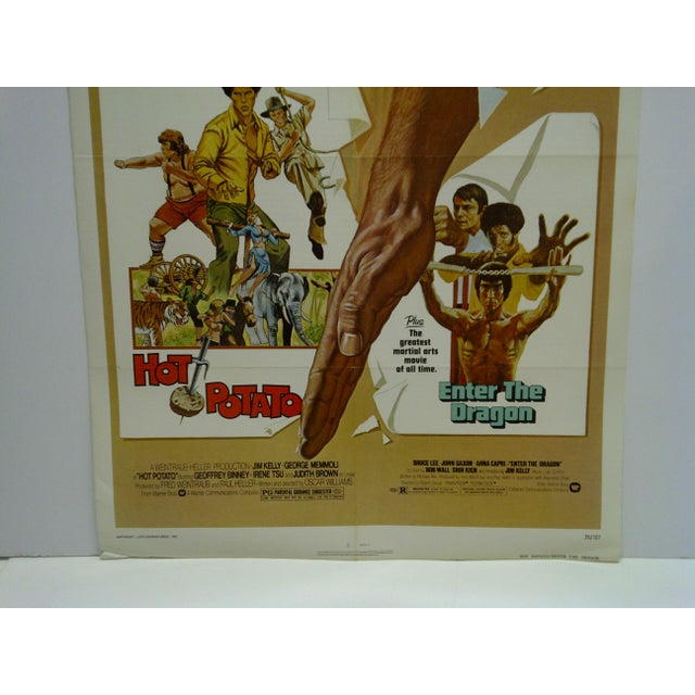 """American 1976 Original """"Hot Potato"""" & """"Enter the Dragon"""" Warner Brothers Movie Poster For Sale - Image 3 of 6"""