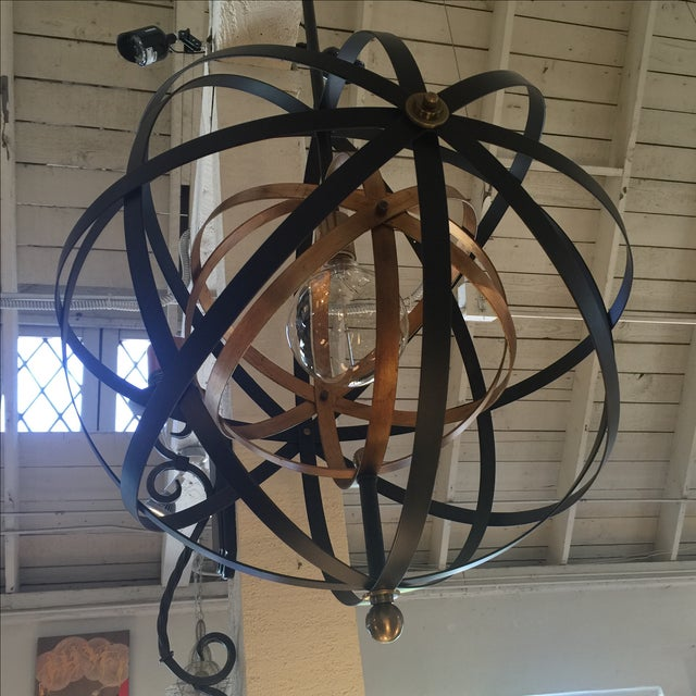 Metal Large Round Orb Pendant Light For Sale - Image 7 of 9