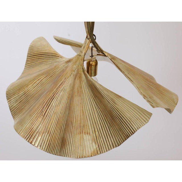 1970s Rare Huge Ginkgo Leaf Brass Chandelier by Tommaso Barbi For Sale - Image 5 of 8