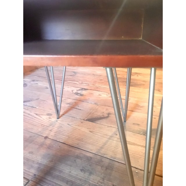 Contemporary Mid Century Modern Todd Oldham End Table With Hairpin Legs For Sale