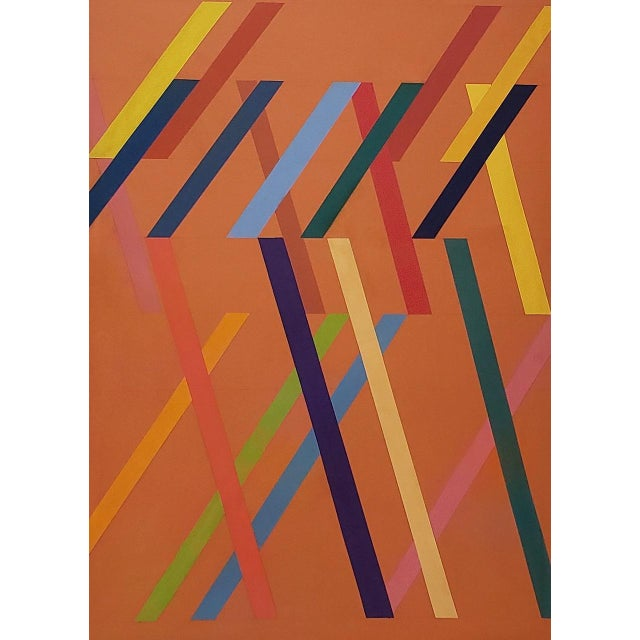 Abstract Tom Patrick (American, 20th C.) Vintage Geometric Abstract Painting on Canvas C.1970s For Sale - Image 3 of 11