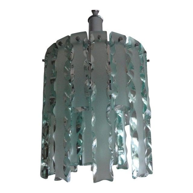 1960's Italian Zero Quattro -Fontana Arte Frosted Glass Lantern or Chandelier For Sale
