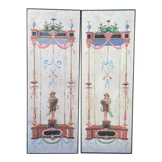 Vintage Handpainted Tromp l'Oeil Neoclassical Panels - a Pair For Sale