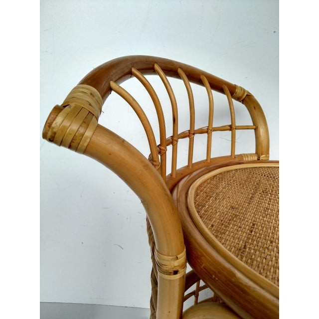 1970's Rattan 2-Tier Bar Cart with Swivel Casters - Image 7 of 8