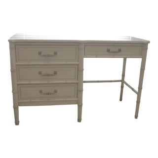 1970's Chinoiserie Henry Link Faux Bamboo Writing Desk For Sale