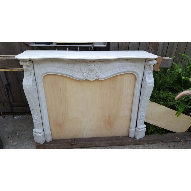 Antique Louis XV Style Carrara Marble Fireplace - Image 2 of 10
