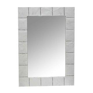 Antique White Squares Tin Wall Mirror For Sale