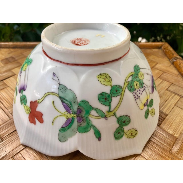 Green Mid Century Vintage Chinese Famille Verte Green Butterfly and Floral Porcelain Lotus Bowl For Sale - Image 8 of 10