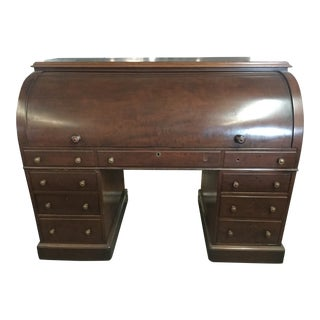1860s English Mahogany Cylinder Desk For Sale