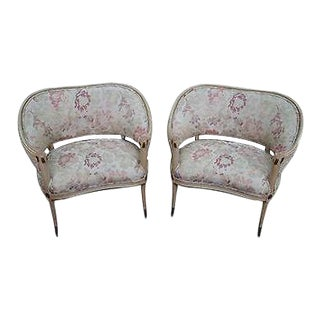 Vintage Hollywood Regency Pair of Paint Frame Canape Arm Chairs For Sale