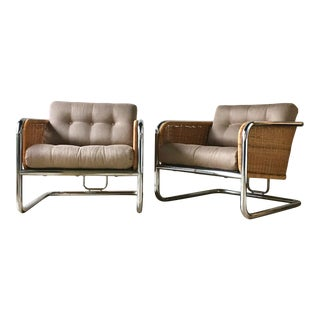 Pair of Woven Rattan and Chrome Framed Armchairs 1960s For Sale
