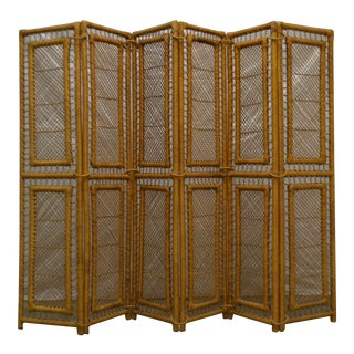Mid-Century Woven Rattan Six Panel Screen For Sale