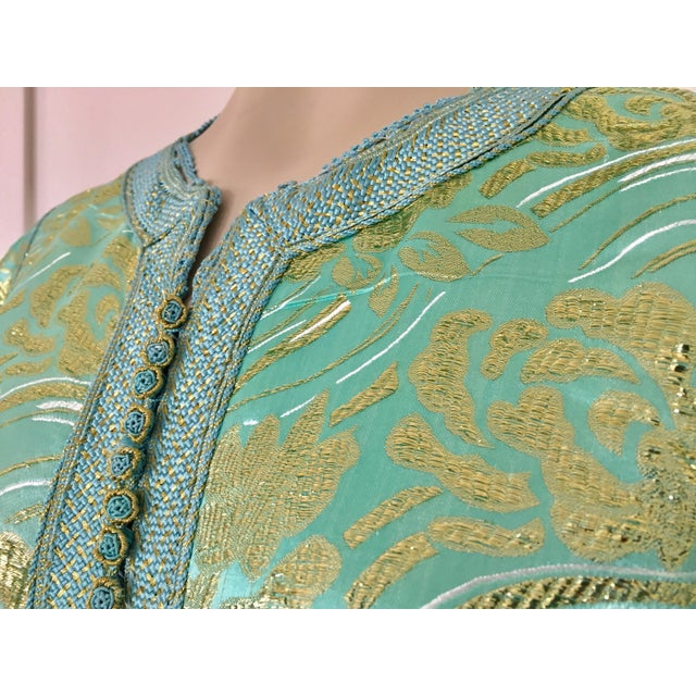 Moroccan Kaftan in Turquoise and Gold Floral Brocade Metallic Lame For Sale - Image 4 of 12