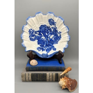 English Blakeney Staffordshire Blue and White Roses Ironstone Shell Bowl Preview