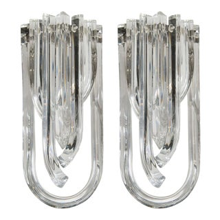 Gorgeous Pair of Modernist Murano Glass Ribbon Sconces For Sale