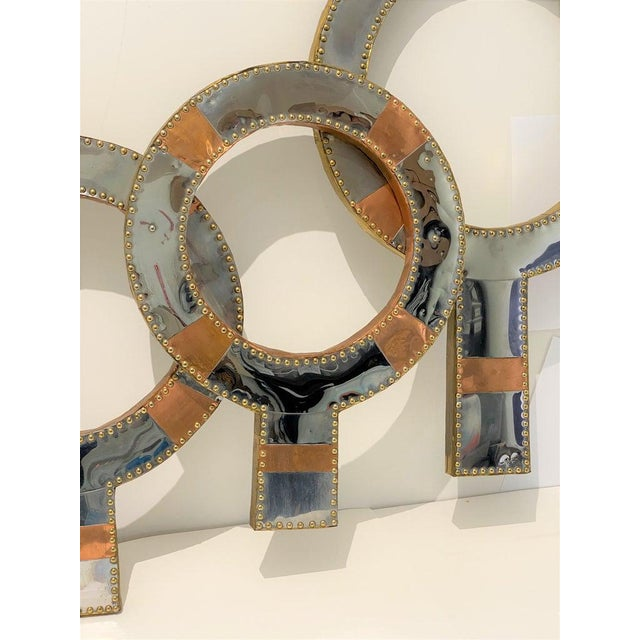 "Curtis Jere Curtis Jere Style Mixed Metal Wall Sculpture ""Neutrality"" 1970s For Sale - Image 4 of 13"