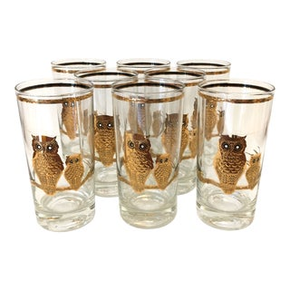 1970's Mid-Century Modern Culver 22 Karat Gold Owl Highball Glasses - Set of 8
