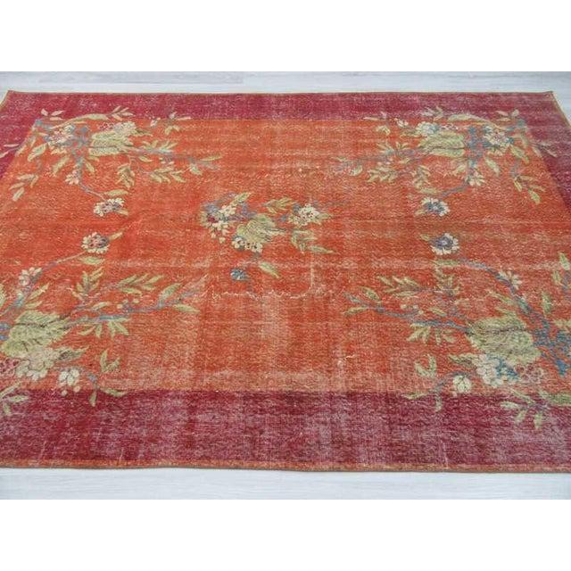 Turkish Art Deco Floral Rug- 6′7″ × 10′1″ For Sale - Image 4 of 6