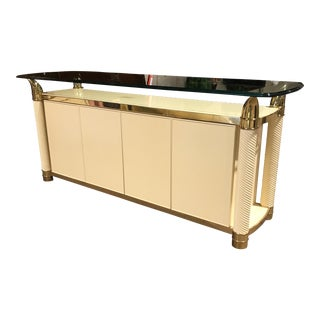 Vintage Brass and Glass Lacquered Buffet