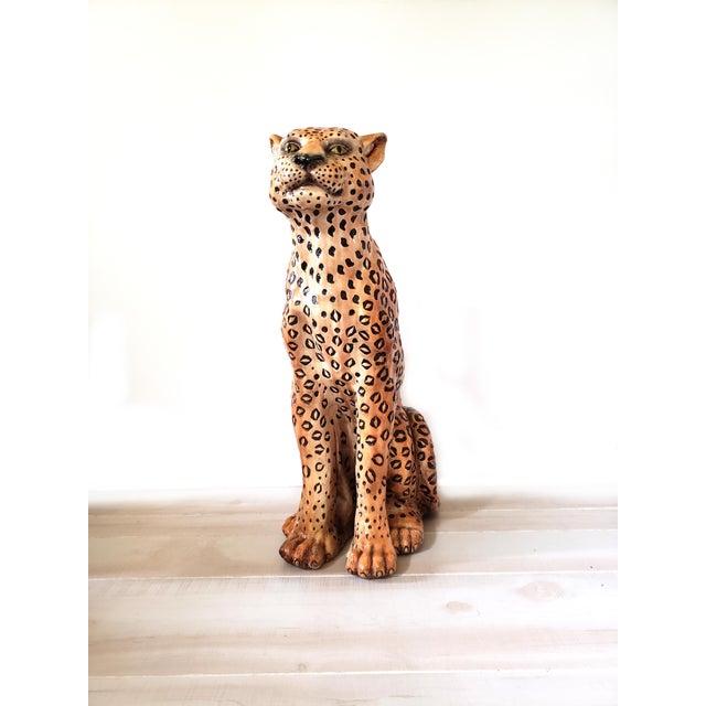 1970s Vintage Life Size Ceramic Cheetah Sculpture For Sale - Image 4 of 4