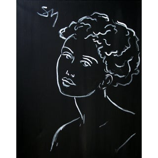 """""""Portrait on Black"""" Contemporary Minimalist Figurative Acrylic Painting by Sarah Myers For Sale"""