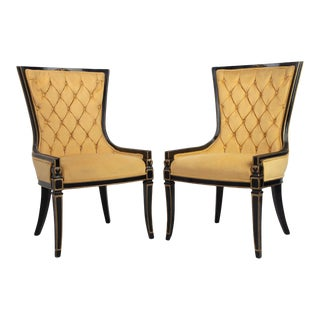 Classic Greek Vintage Gold Velvet, Gold Trimmed, Black Lacqered Chairs - A Pair For Sale