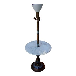 Torchiere Marble and Brass Floor Lamp Beautiful Inlay For Sale